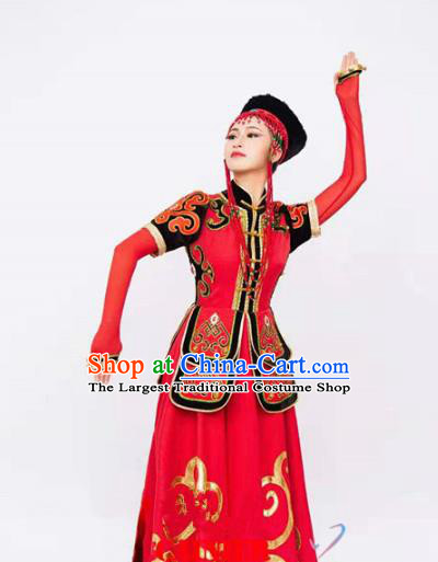 Custom Mongol Nationality Red Dress China Ethnic Woman Clothing Traditional Mongolian Minority Dance Costumes and Headwear