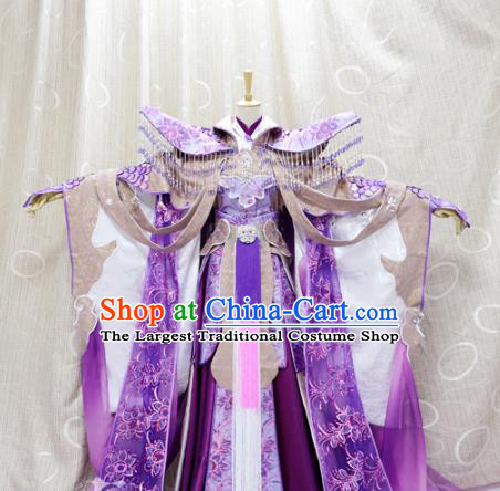 China Cosplay Fairy Princess Purple Dress Custom Traditional Ancient Swordswoman Costumes Queen Clothing