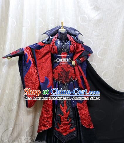 China Ancient Royal Highness Clothing Custom Professional Cosplay Swordsman Red Costumes Full Set