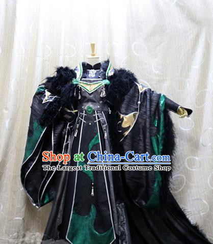 China Ancient King Mo Luo Clothing Custom Professional Cosplay Swordsman Black Costumes Full Set