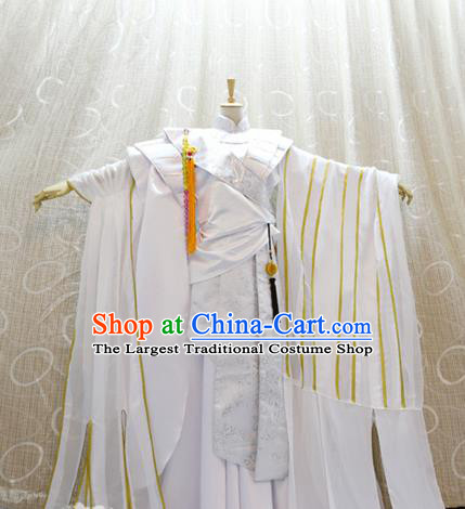 Cosplay Swordsman Monk White Costumes Custom China Ancient Warrior Clothing