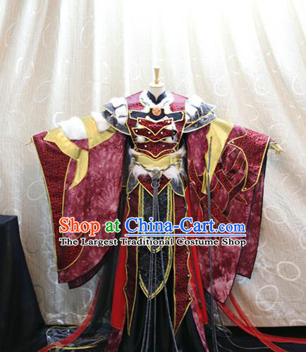 Cosplay Warrior Commander Red Costumes Custom China Ancient Swordsman Yu Bingtao Clothing