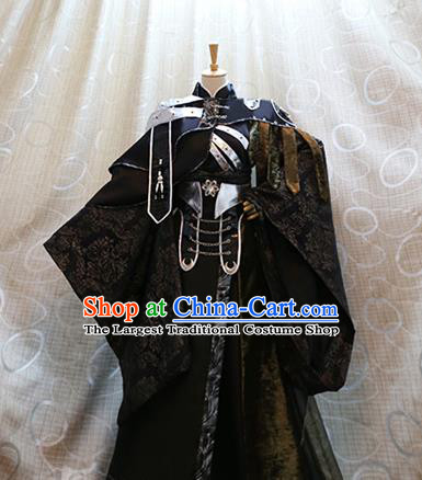 Cosplay King Xijing Wuque Costumes Custom China Ancient Swordsman Black Clothing Complete Set