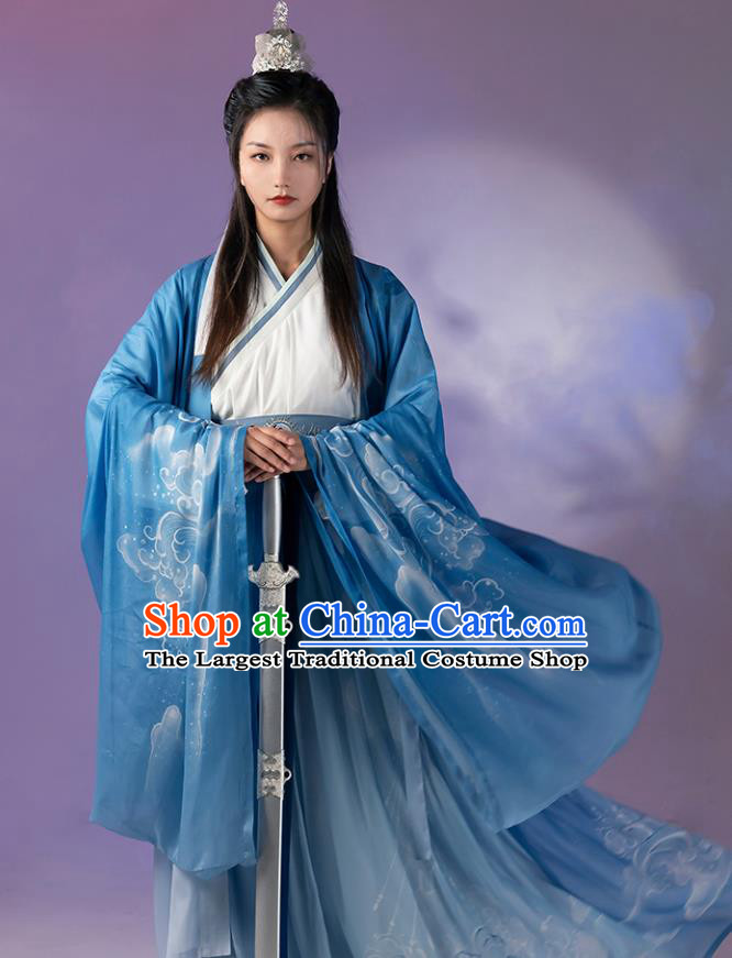 China Cosplay Jiang Ziya Apparels Traditional Shang Dynasty Hanfu Clothing Ancient Swordsman Costumes Full Set