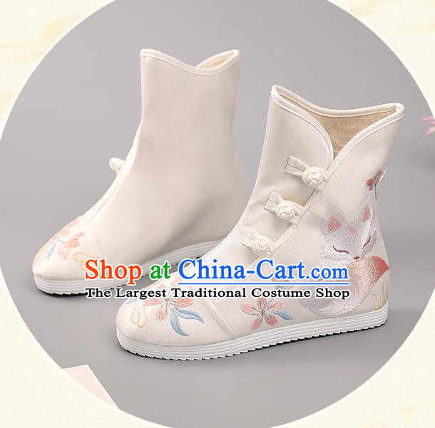 Chinese National Embroidered Fox Boots Ancient Hanfu Shoes Handmade White Cloth Boots