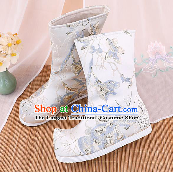 Chinese Ancient Ming Dynasty Hanfu Shoes Handmade Boots National White Brocade Boots
