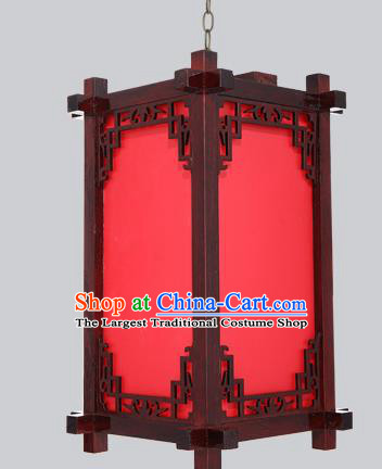 China Handmade Red Imitation Sheepskin Lanterns Wood Lantern Outdoor Lamp Palace Lantern
