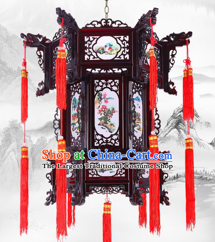 Chinese Wood Decorations Lamp Classical Lanterns Handmade Hanging Lamp Traditional New Year Hexagon Palace Lantern