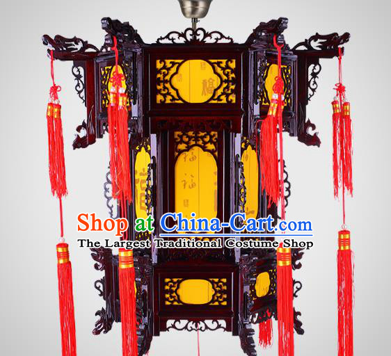 Chinese Classical Wood Lanterns New Year Yellow Lantern Traditional Hanging Lamp Handmade Hexagon Palace Lantern