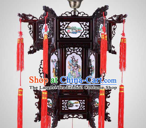 Chinese Handmade Hexagon Palace Lantern Traditional Hanging Lamp New Year Lantern Classical Eight Immortals Wood Lanterns