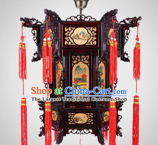 Chinese Traditional Hanging Lamp Handmade Hexagon Palace Lantern Classical Landscape Wood Lanterns New Year Lantern