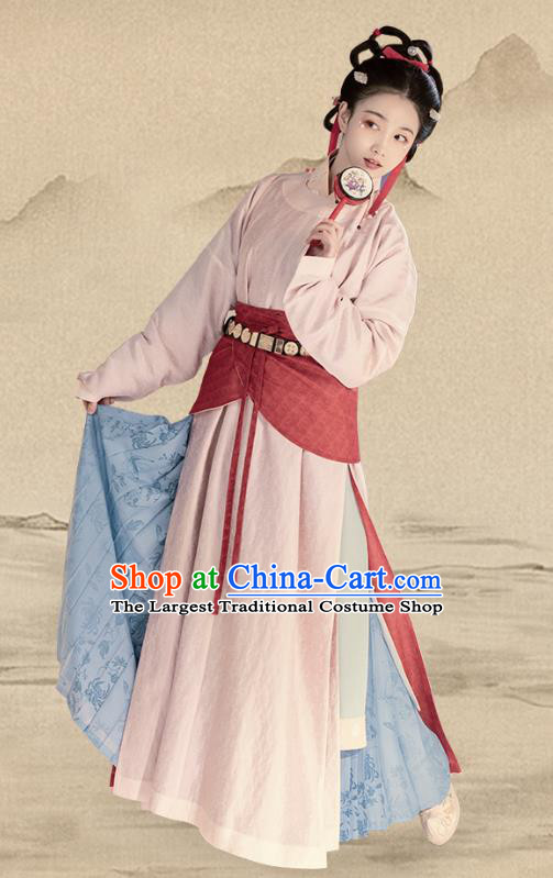 China Song Dynasty Civilian Woman Costumes Traditional Ancient Country Lady Hanfu Dress Complete Set