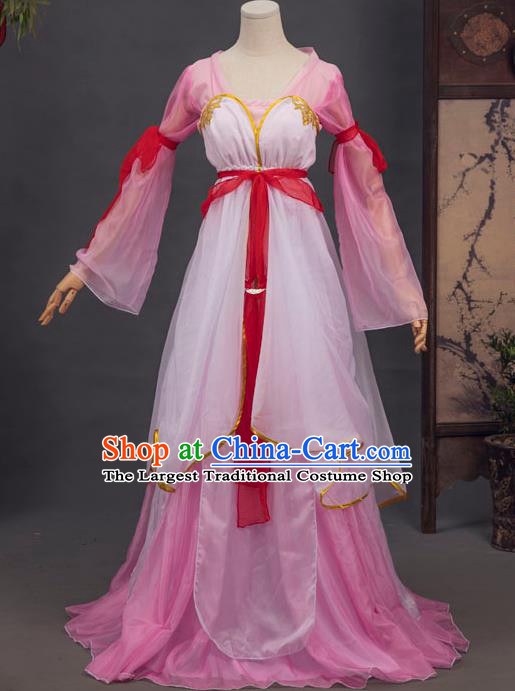 Chinese Tang Dynasty Village Girl Costumes Ancient Swordswoman Pink Hanfu Dress Country Lady Apparels