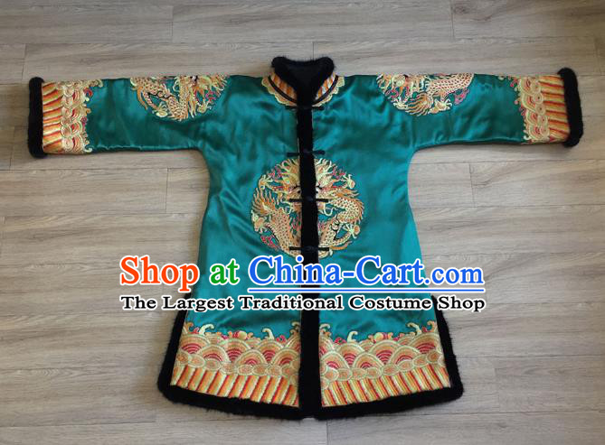 Chinese Embroidered Lion Blue Brocade Jacket Apparels Upper Outer Garment National Tang Suit Winter Costume