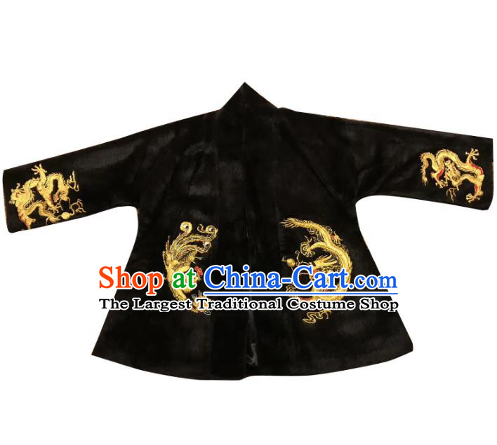 Chinese Winter Jacket Embroidered Tang Suit Outer Garment National Costume Apparels Black Coat