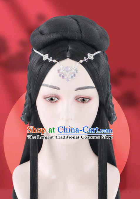 Chinese Jin Dynasty Imperial Consort Wigs Quality Wigs China Best Chignon Wig Ancient Goddess Wig Sheath