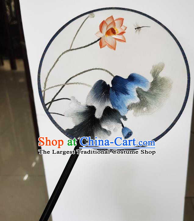 China Suzhou Round Fan Ancient Princess Palace Fan Embroidery Lotus Silk Fan Handmade Double Side Fans