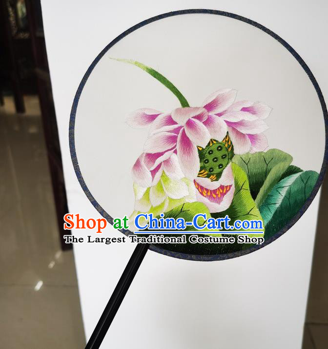 China Suzhou Double Side Fans Ancient Princess Palace Fan Embroidery Lotus Silk Fan Handmade Round Fan