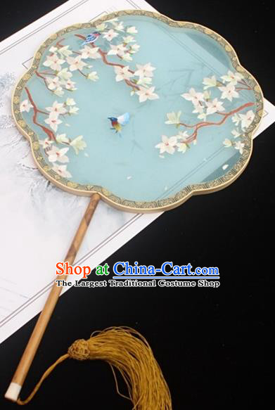 China Traditional Court Fans Embroidery Palace Fan Classical Blue Silk Fan Handmade Double Side Embroidered Fan