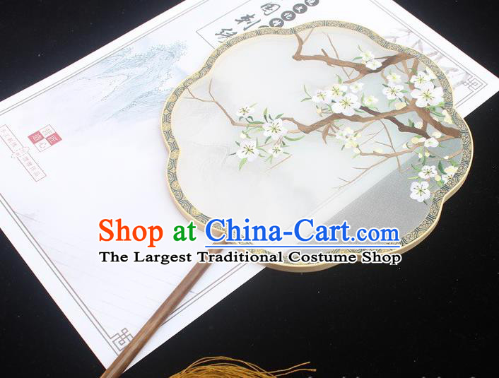 Embroidered White Plum Blossom Fan China Traditional Classical Dance Embroidery Silk Fan Handmade Palace Fan