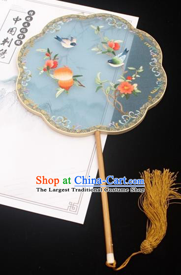China Classical Blue Silk Palace Fan Handmade Embroidery Fan Traditional Court Fan Double Side Embroidered Fan