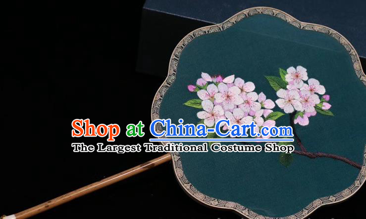 Deep Green Silk Fan China Traditional Handmade Embroidered Palace Fan Classical Dance Embroidery Plum Blossom Fan