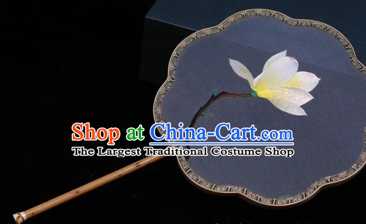 Blue Silk Fan China Traditional Handmade Embroidered Palace Fan Classical Dance Embroidery Yulan Magnolia Fan