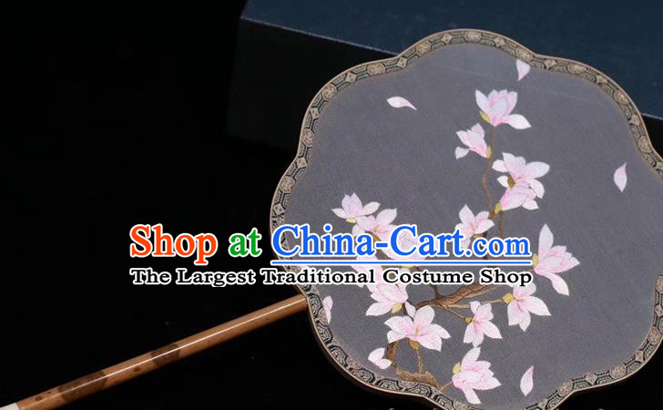Classical Dance Embroidery Yulan Magnolia Fan Grey Silk Fan China Traditional Handmade Embroidered Palace Fan