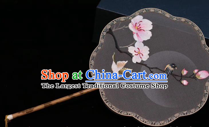 China Traditional Handmade Embroidered Palace Fan Grey Silk Fan Classical Dance Embroidery Peach Blossom Fan