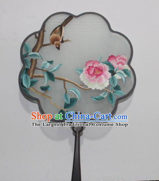 China Rosewood Embroidered Fan Traditional Embroidery Peach Blossom Palace Fan Handmade Double Side Silk Fan