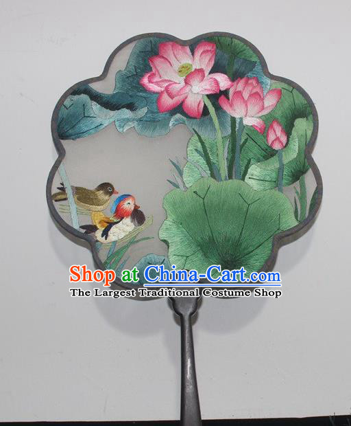 China Traditional Embroidery Mandarin Duck Lotus Palace Fan Handmade Double Side Silk Fan Rosewood Embroidered Fan