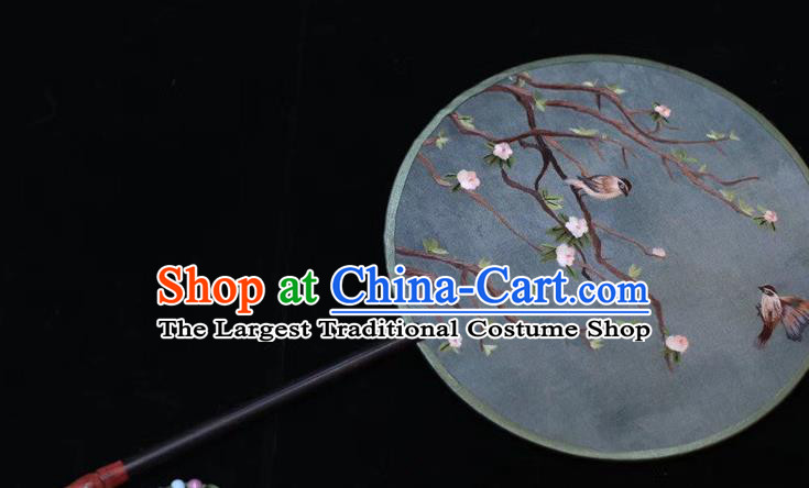 China Handmade Embroidered Round Fan Suzhou Embroidery Plum Blossom Palace Fan Ancient Court Dance Silk Fans