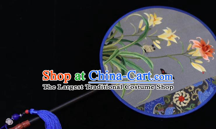 China Handmade Round Fan Ancient Court Dance Embroidered Silk Fans Suzhou Embroidery Orchids Butterfly Palace Fan