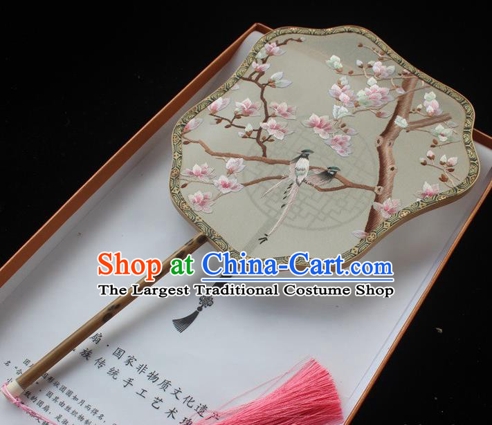 Embroidered Palm Leaf Fans Classical Dance Silk Fan China Handmade Suzhou Embroidery Mangnolia Bird Palace Fan