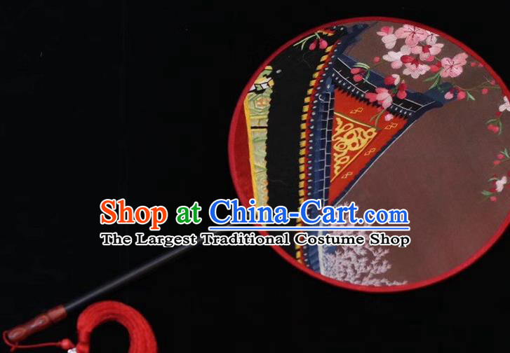 China Ancient Bride Fan Handmade Suzhou Embroidery Palace Fan Embroidered Round Fan Court Dance Silk Fans
