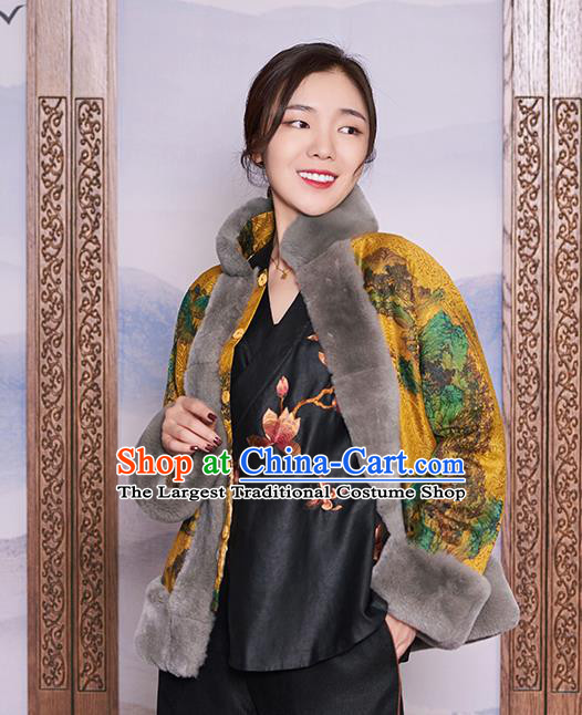 Chinese Women Winter Outer Garment Yellow Watered Gauze Coat Traditional National Clothing Jacket