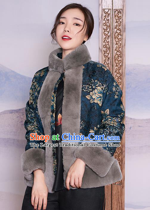 Chinese Navy Jacket Women Winter Outer Garment Watered Gauze Coat Traditional National Clothing