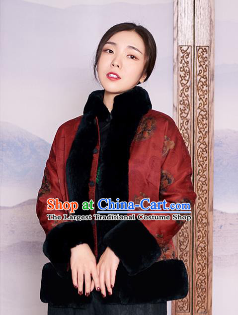 Chinese Purplish Red Watered Gauze Jacket Women Coat Traditional National Clothing Winter Outer Garment