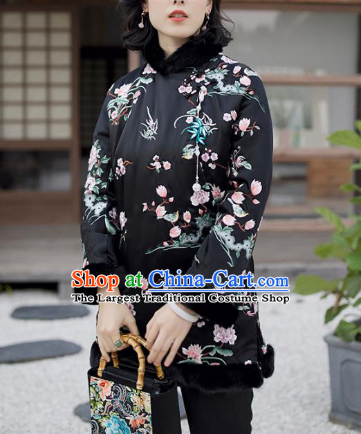 Chinese Black Satin Jacket Traditional National Clothing Winter Outer Garment Women Embroidered Cotton Wadded Coat