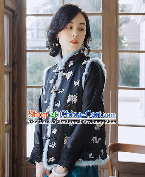 Traditional Embroidered Butterfly Waistcoat National Female Clothing China Classical Cheongsam Black Cotton Padded Vest