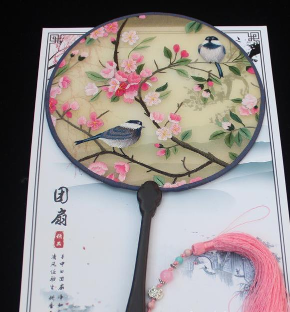 China Embroidery Plum Bird Fan Exquisite Rosewood Fan Traditional Handmade Palace Fan Round Fan