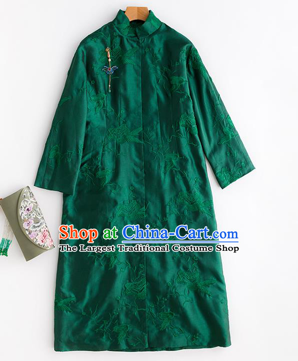 Chinese Winter Deep Green Cotton Padded Coat Traditional National Clothing Women Embroidered Coat Outer Garment