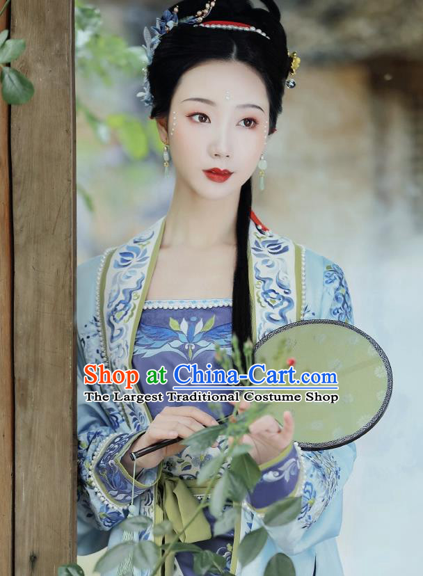 Ancient China Nobility Lady Embroidered Hanfu Dress Traditional Song Dynasty Court Princess Historical Costumes Complete Set