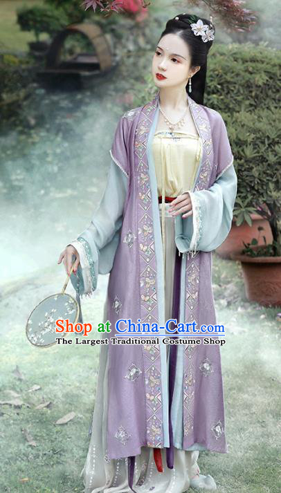 China Traditional Song Dynasty Historical Costumes Ancient Noble Women Embroidered Hanfu Dress Apparels