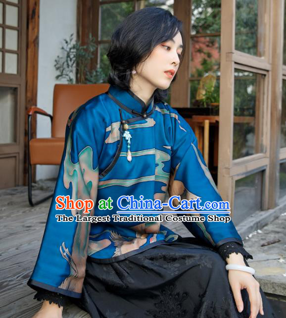 Chinese Deep Blue Cotton Padded Coat National Clothing Traditional Outer Garment Women Silk Jacket