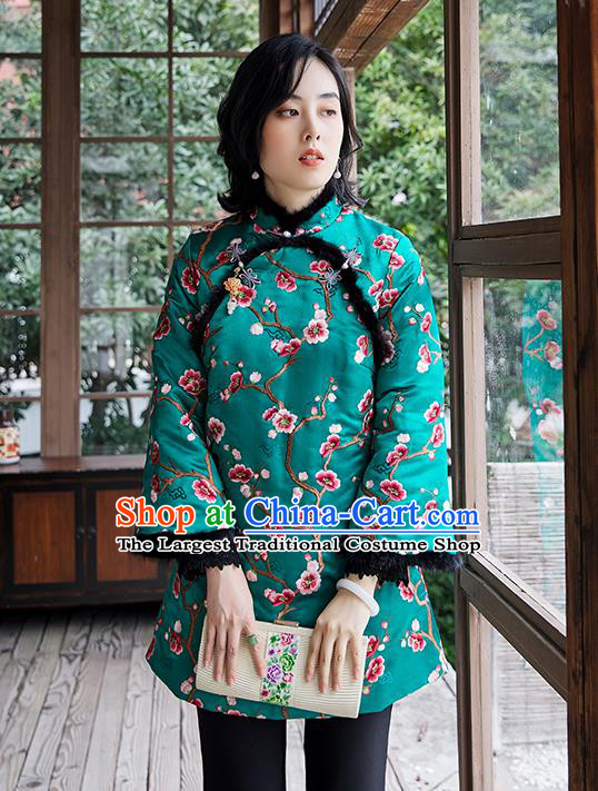 Chinese Embroidered Plum Blossom Green Cotton Padded Jacket National Women Silk Outer Garment Traditional Costume