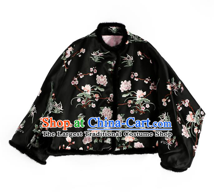 Chinese Tang Suit Embroidered Orchid Black Cotton Padded Jacket Women Outer Garment Traditional National Costume