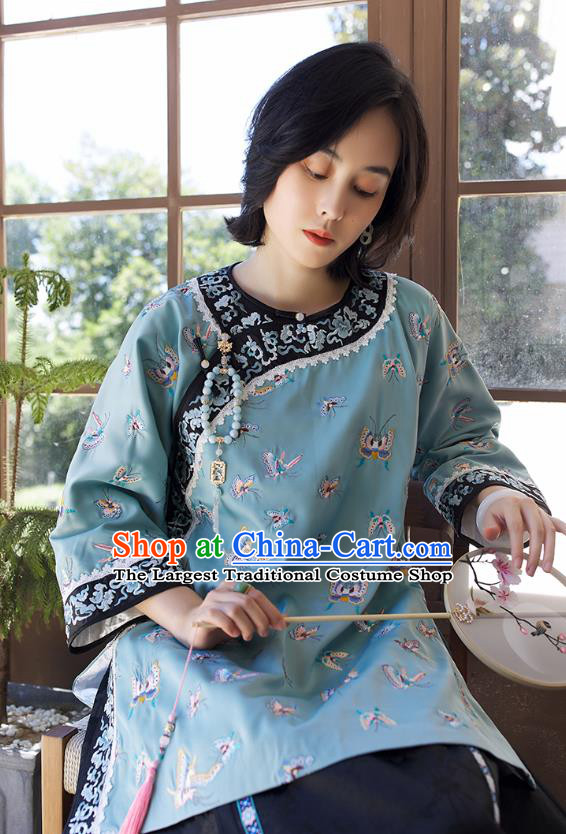 Chinese Traditional Qing Dynasty Women Upper Outer Garment Tang Suit Blouse Costume Embroidered Butterfly Blue Shirt