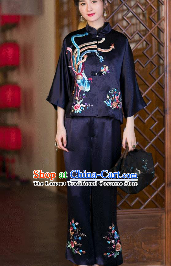 Chinese Traditional Costume Embroidered Phoenix Blouse Tang Suit Navy Satin Shirt Upper Outer Garment