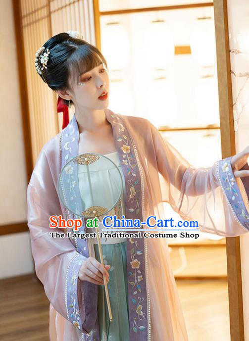 Chinese Song Dynasty Historical Costumes Traditional Ancient Civilian Lady Embroidered BeiZi Blouse and Skirt Hanfu Apparels